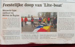 krantenartikel Michiel de Ruyter - Liteboat